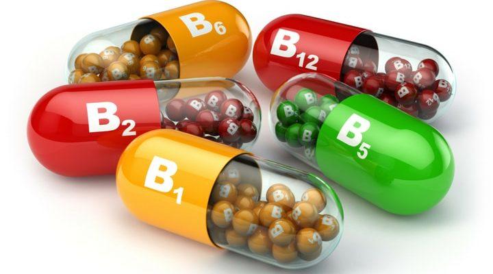 Fem animerade kapslar som ska representera olika B-vitaminer.